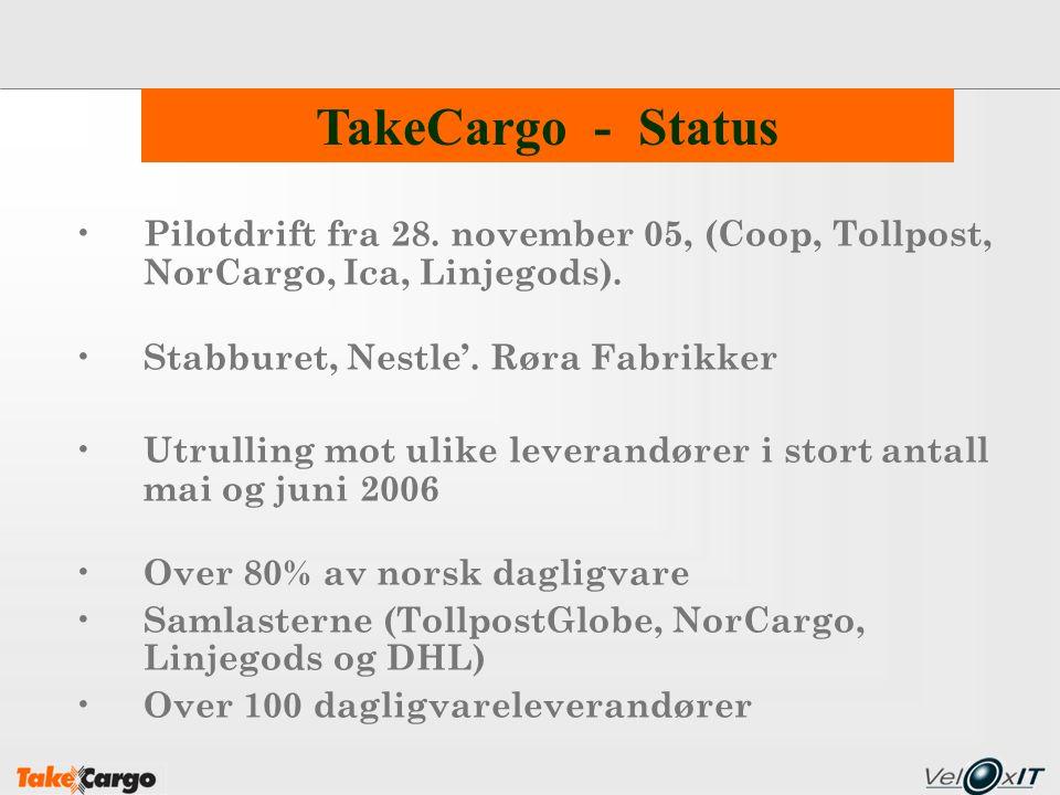 Pilotdrift fra 28. november 05, (Coop, Tollpost, NorCargo, Ica, Linjegods). Stabburet, Nestle'. Røra Fabrikker Utrulling mot ulike leverandører i stor