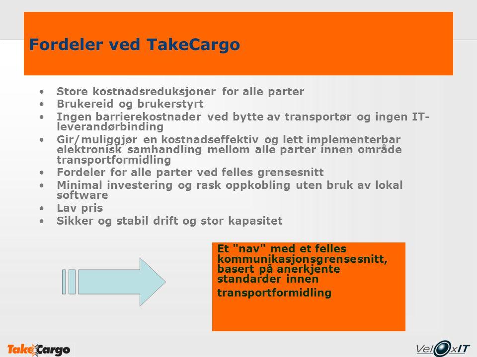 Fordeler ved TakeCargo Store kostnadsreduksjoner for alle parter Brukereid og brukerstyrt Ingen barrierekostnader ved bytte av transportør og ingen IT