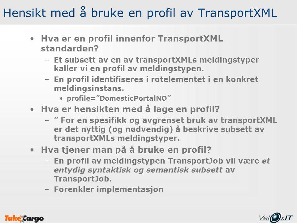 Hensikt med å bruke en profil av TransportXML Hva er en profil innenfor TransportXML standarden? –Et subsett av en av transportXMLs meldingstyper kall