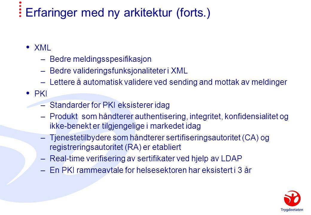 Erfaringer med ny arkitektur (forts.)  XML –Bedre meldingsspesifikasjon –Bedre valideringsfunksjonaliteter i XML –Lettere å automatisk validere ved s