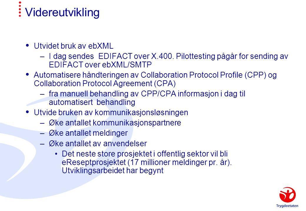 Videreutvikling  Utvidet bruk av ebXML –I dag sendes EDIFACT over X.400. Pilottesting pågår for sending av EDIFACT over ebXML/SMTP  Automatisere hån