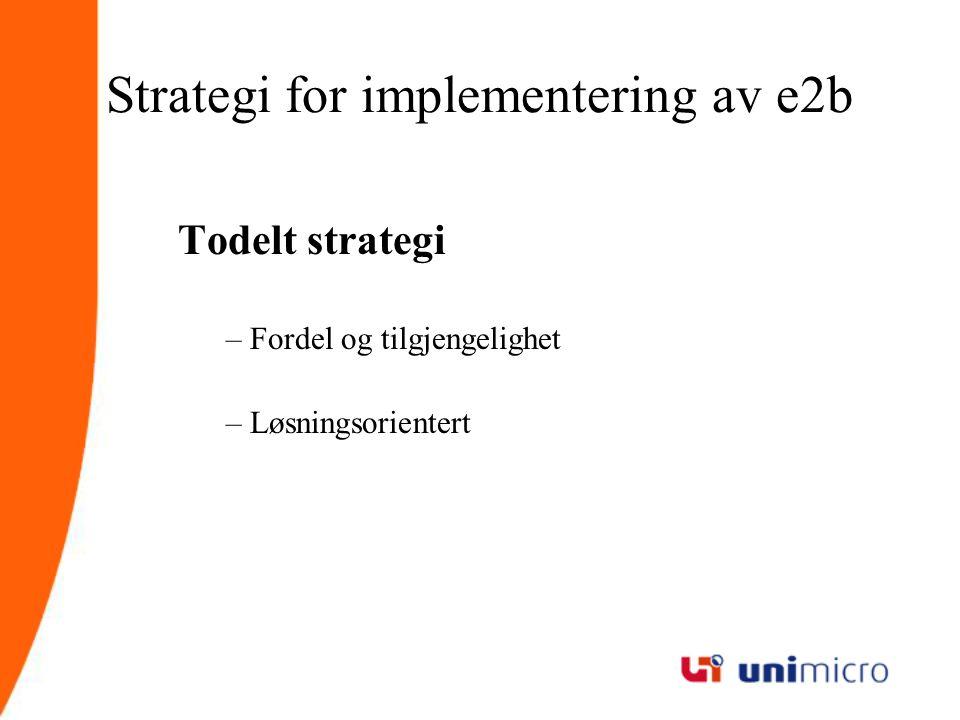 Strategi for implementering av e2b Todelt strategi –Fordel og tilgjengelighet –Løsningsorientert