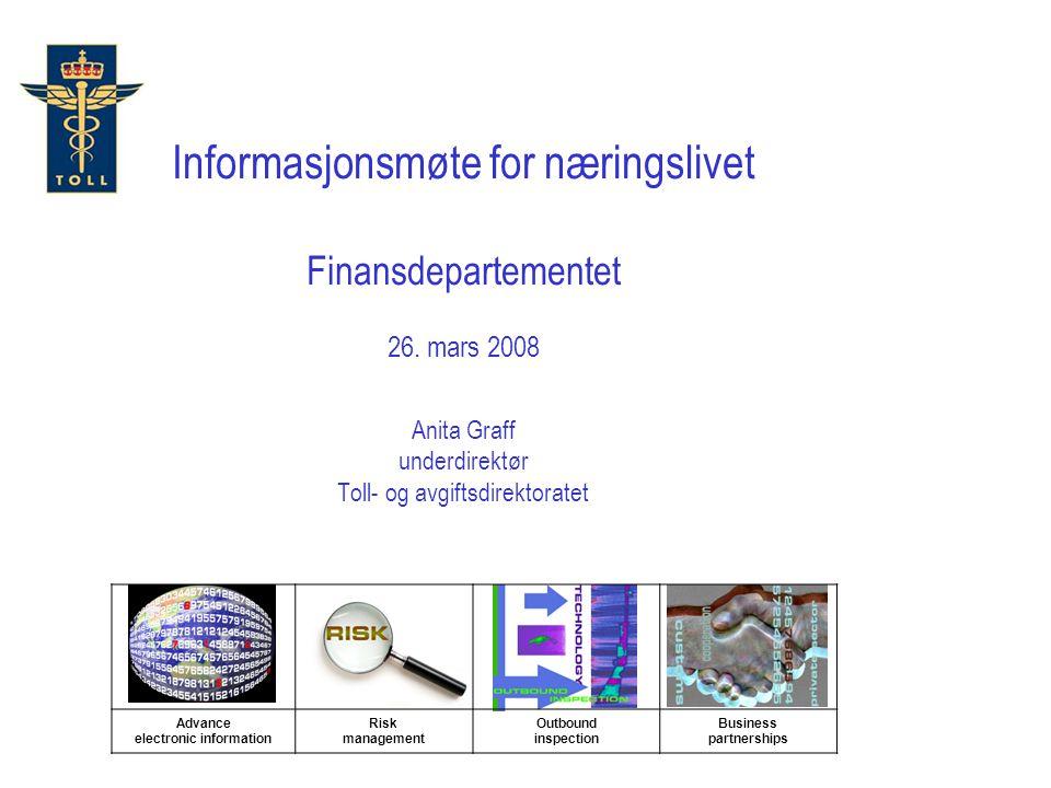 Informasjonsmøte for næringslivet Finansdepartementet 26. mars 2008 Anita Graff underdirektør Toll- og avgiftsdirektoratet Advance electronic informat