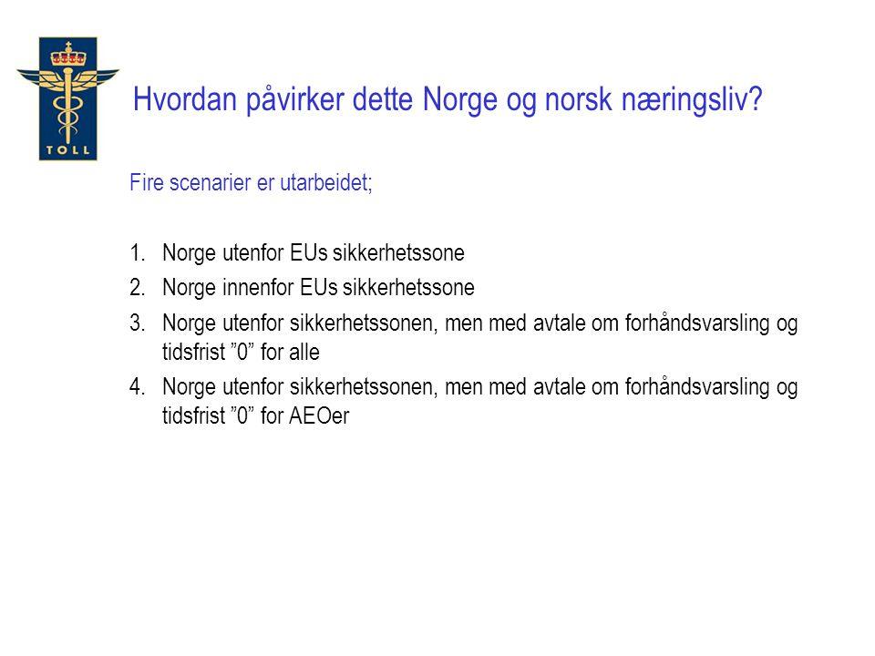 Hvordan påvirker dette Norge og norsk næringsliv? Fire scenarier er utarbeidet; 1.Norge utenfor EUs sikkerhetssone 2.Norge innenfor EUs sikkerhetssone