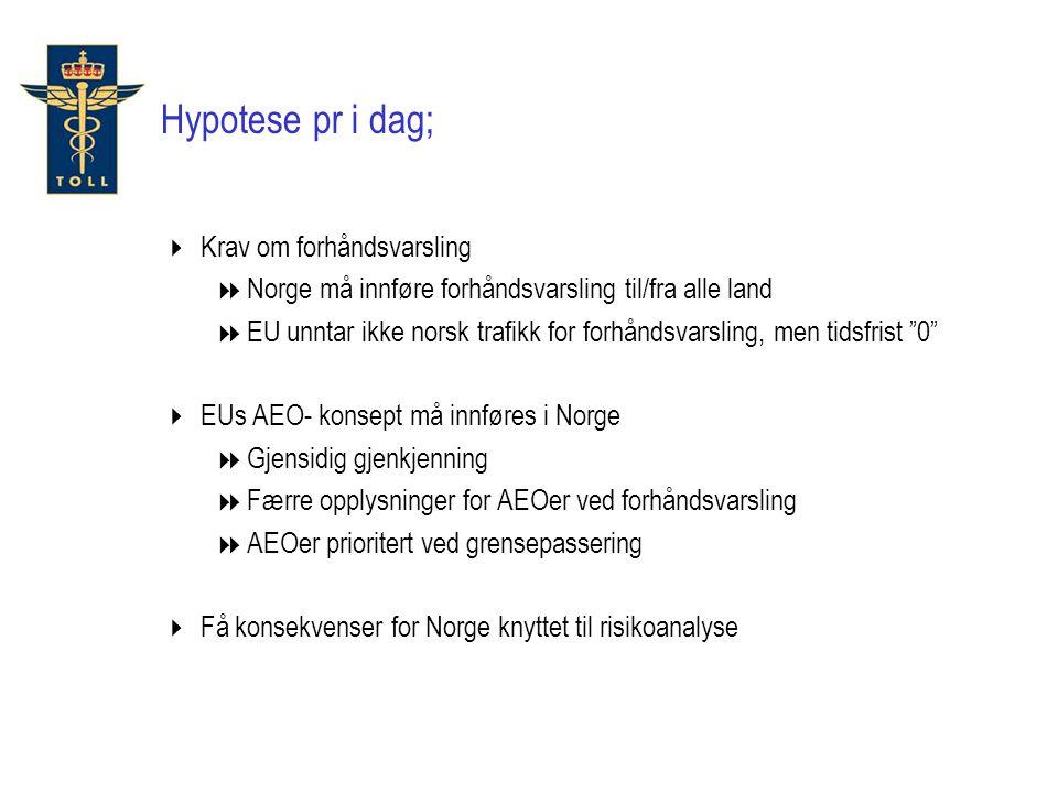 Hypotese pr i dag;  Krav om forhåndsvarsling  Norge må innføre forhåndsvarsling til/fra alle land  EU unntar ikke norsk trafikk for forhåndsvarsling, men tidsfrist 0  EUs AEO- konsept må innføres i Norge  Gjensidig gjenkjenning  Færre opplysninger for AEOer ved forhåndsvarsling  AEOer prioritert ved grensepassering  Få konsekvenser for Norge knyttet til risikoanalyse