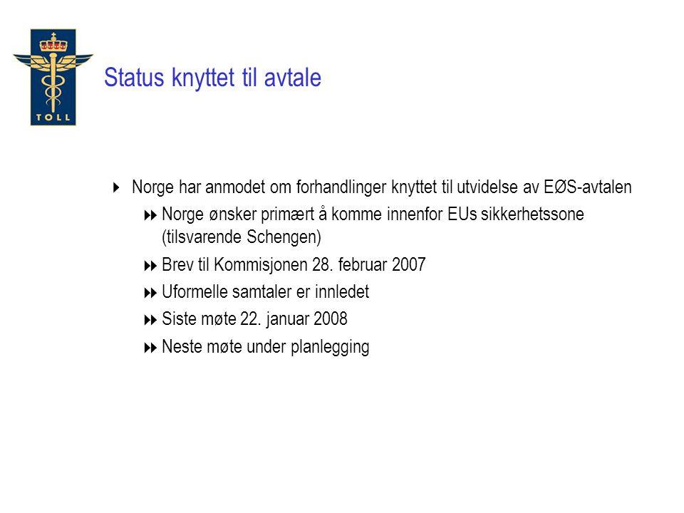 Status knyttet til avtale  Norge har anmodet om forhandlinger knyttet til utvidelse av EØS-avtalen  Norge ønsker primært å komme innenfor EUs sikkerhetssone (tilsvarende Schengen)  Brev til Kommisjonen 28.