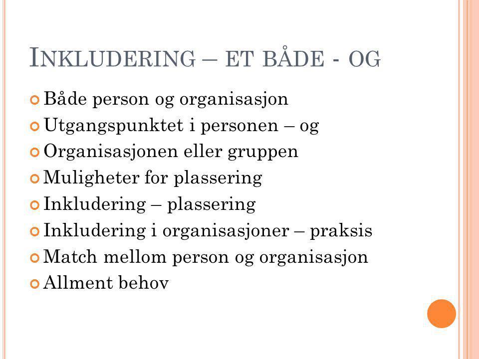 I NKLUDERING – ET BÅDE - OG Både person og organisasjon Utgangspunktet i personen – og Organisasjonen eller gruppen Muligheter for plassering Inkluder
