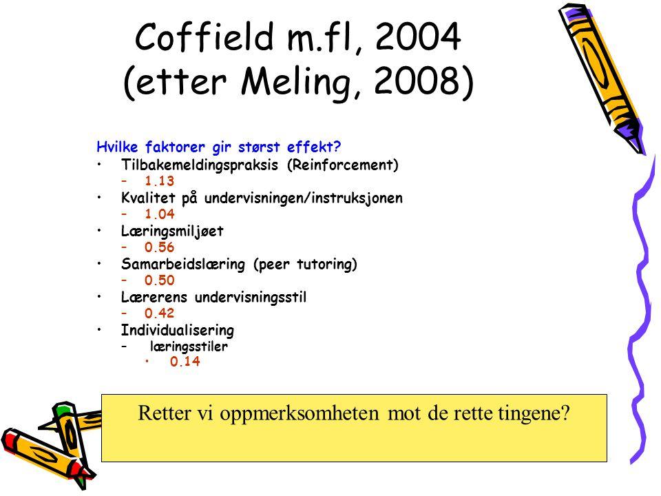 Coffield m.fl, 2004 (etter Meling, 2008) Hvilke faktorer gir størst effekt? Tilbakemeldingspraksis (Reinforcement) –1.13 Kvalitet på undervisningen/in
