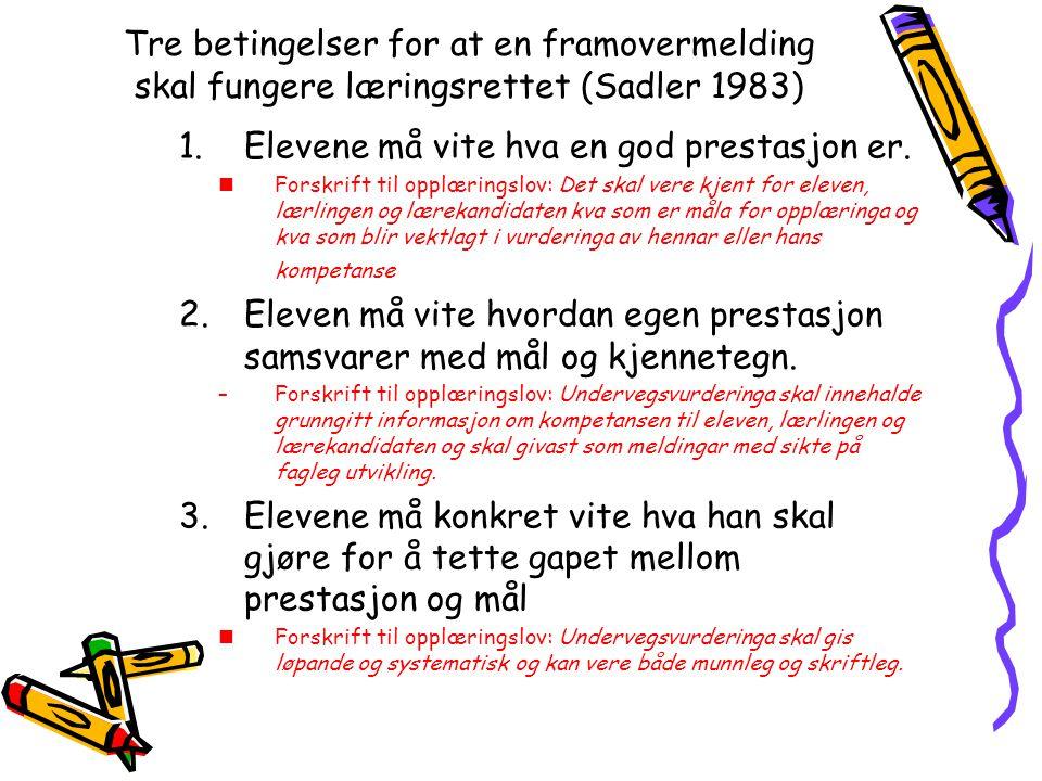 Tre betingelser for at en framovermelding skal fungere læringsrettet (Sadler 1983) 1.Elevene må vite hva en god prestasjon er. Forskrift til opplæring