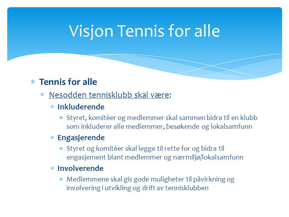  Tennis for alle  Nesodden tennisklubb skal være:  Inkluderende  Styret, komitèer og medlemmer skal sammen bidra til en klubb som inkluderer alle