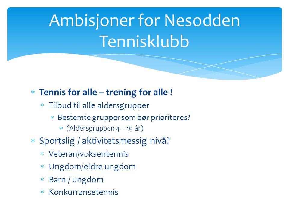  Tennis for alle – trening for alle !  Tilbud til alle aldersgrupper  Bestemte grupper som bør prioriteres?  (Aldersgruppen 4 – 19 år)  Sportslig