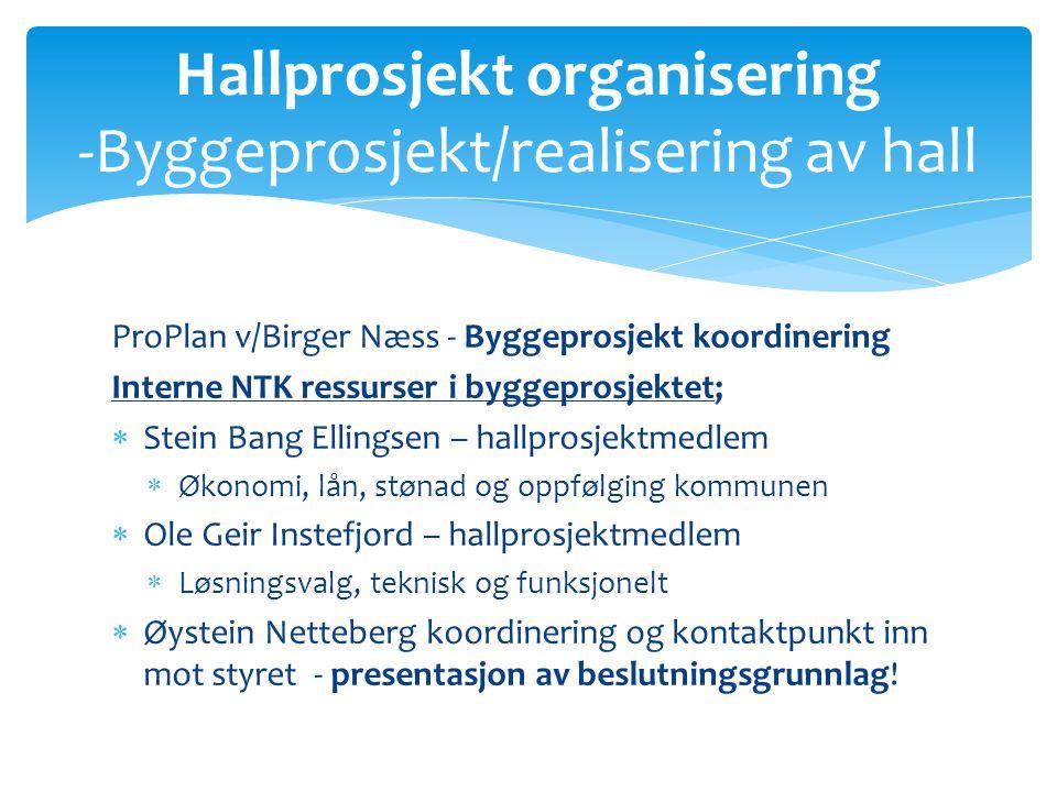 ProPlan v/Birger Næss - Byggeprosjekt koordinering Interne NTK ressurser i byggeprosjektet;  Stein Bang Ellingsen – hallprosjektmedlem  Økonomi, lån