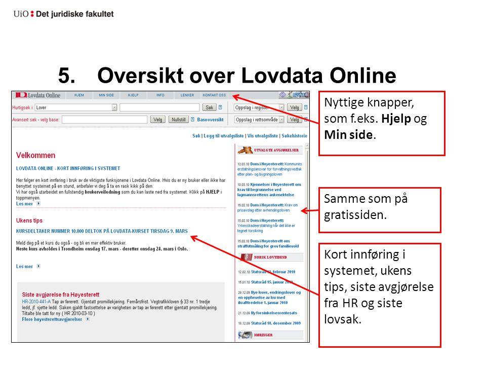 5.Oversikt over Lovdata Online Nyttige knapper, som f.eks. Hjelp og Min side. Samme som på gratissiden. Kort innføring i systemet, ukens tips, siste a