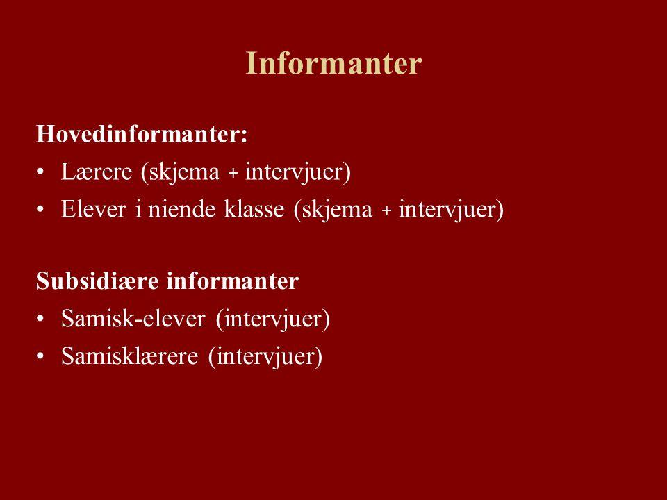 Informanter Hovedinformanter: Lærere (skjema + intervjuer) Elever i niende klasse (skjema + intervjuer) Subsidiære informanter Samisk-elever (intervjuer) Samisklærere (intervjuer)