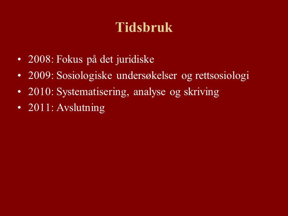 Tidsbruk 2008: Fokus på det juridiske 2009: Sosiologiske undersøkelser og rettsosiologi 2010: Systematisering, analyse og skriving 2011: Avslutning