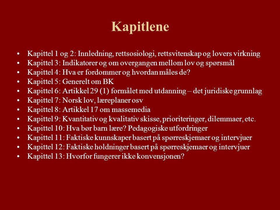 Kapitlene Kapittel 1 og 2: Innledning, rettsosiologi, rettsvitenskap og lovers virkning Kapittel 3: Indikatorer og om overgangen mellom lov og spørsmål Kapittel 4: Hva er fordommer og hvordan måles de.