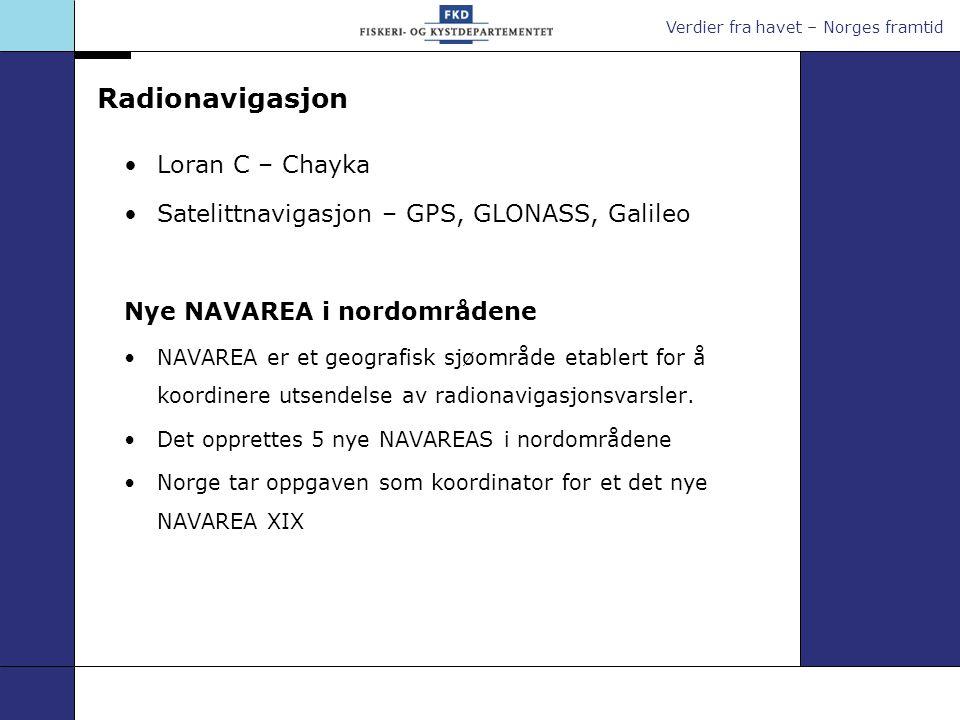 Verdier fra havet – Norges framtid Radionavigasjon Loran C – Chayka Satelittnavigasjon – GPS, GLONASS, Galileo Nye NAVAREA i nordområdene NAVAREA er e