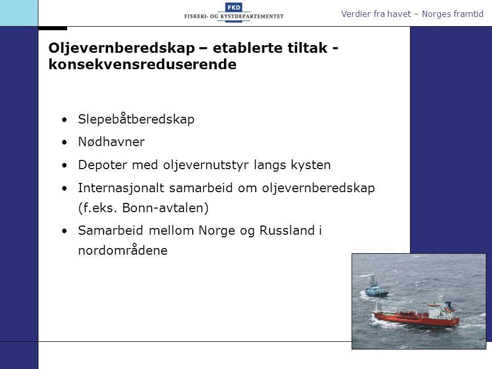 Verdier fra havet – Norges framtid Oljevernberedskap – etablerte tiltak - konsekvensreduserende Slepebåtberedskap Nødhavner Depoter med oljevernutstyr