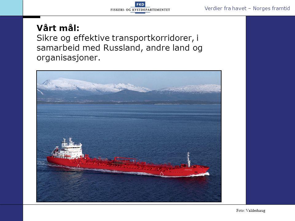 Verdier fra havet – Norges framtid Vårt mål: Sikre og effektive transportkorridorer, i samarbeid med Russland, andre land og organisasjoner. Foto: Val