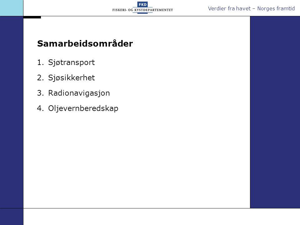 Verdier fra havet – Norges framtid Samarbeidsområder 1.Sjøtransport 2.Sjøsikkerhet 3.Radionavigasjon 4.Oljevernberedskap
