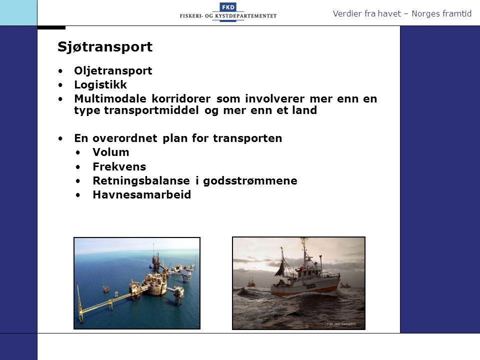 Verdier fra havet – Norges framtid Sjøtransport Miljøvennlig transportmiddel Fokus på: -Havner -Forebyggende sjøsikkerhet/tiltak mot terrortrussel -Samarbeid om navigasjon (GPS, Galileo etc.) -Oljevernberedskap - Skip og mannskap (den menneskelige faktor)