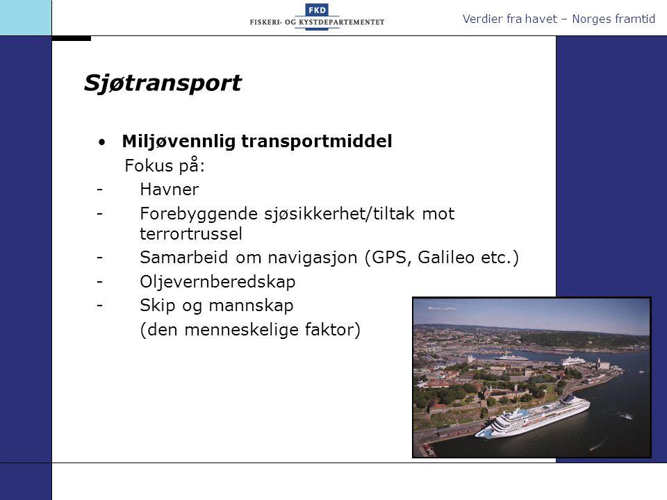 Verdier fra havet – Norges framtid Sjøtransport Miljøvennlig transportmiddel Fokus på: -Havner -Forebyggende sjøsikkerhet/tiltak mot terrortrussel -Sa