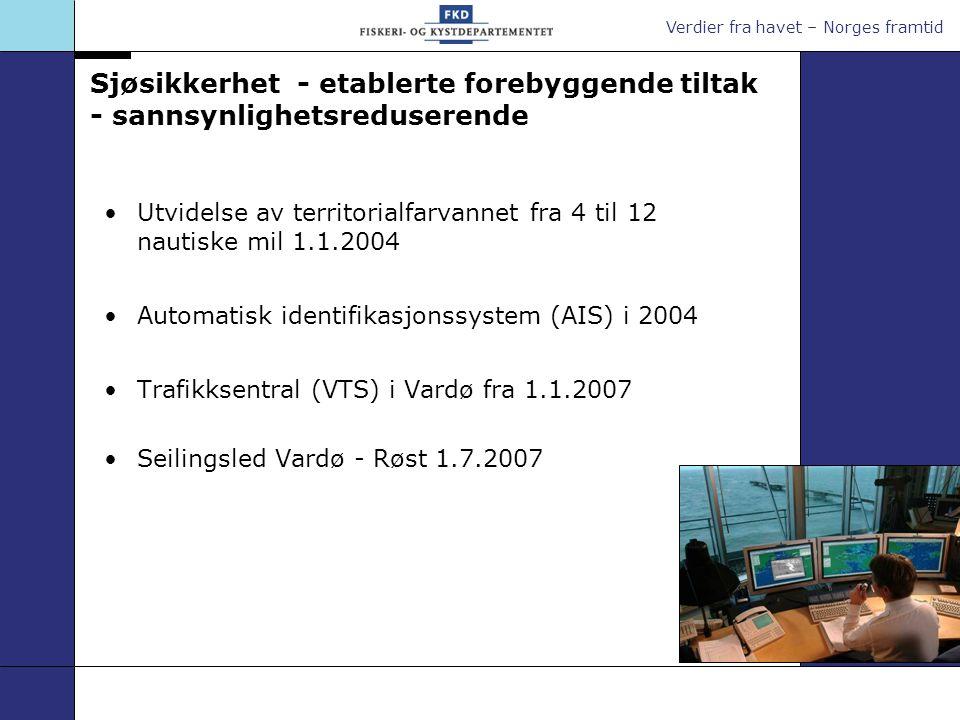 Verdier fra havet – Norges framtid Sjøsikkerhet - etablerte forebyggende tiltak - sannsynlighetsreduserende Utvidelse av territorialfarvannet fra 4 ti
