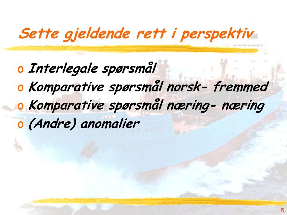 5 Sette gjeldende rett i perspektiv oInterlegale spørsmål oKomparative spørsmål norsk- fremmed oKomparative spørsmål næring- næring o(Andre) anomalier