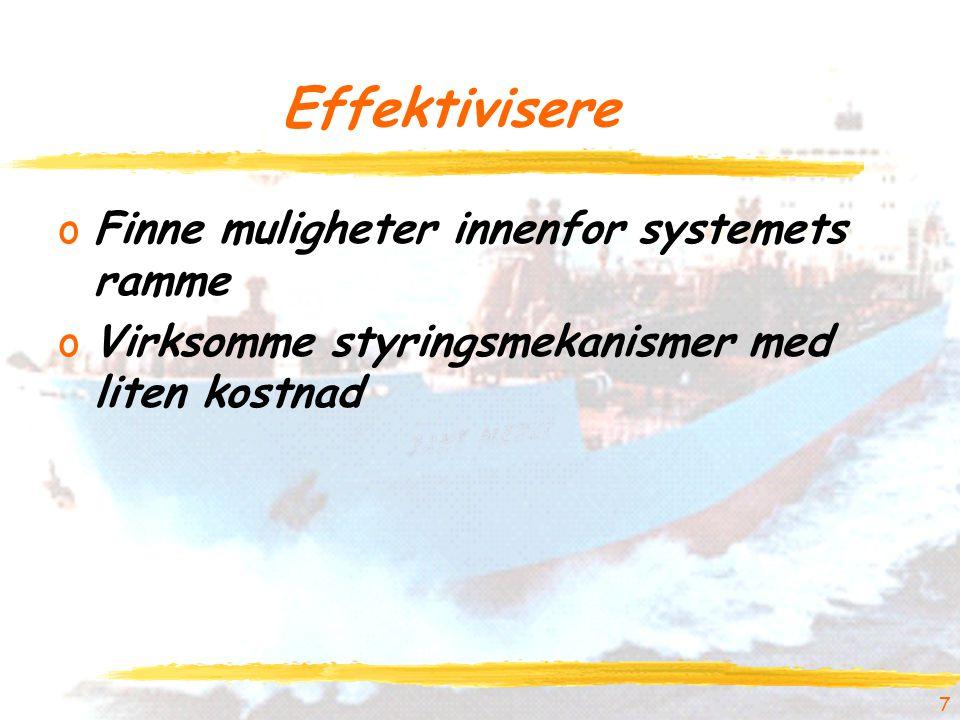 7 Effektivisere oFinne muligheter innenfor systemets ramme oVirksomme styringsmekanismer med liten kostnad