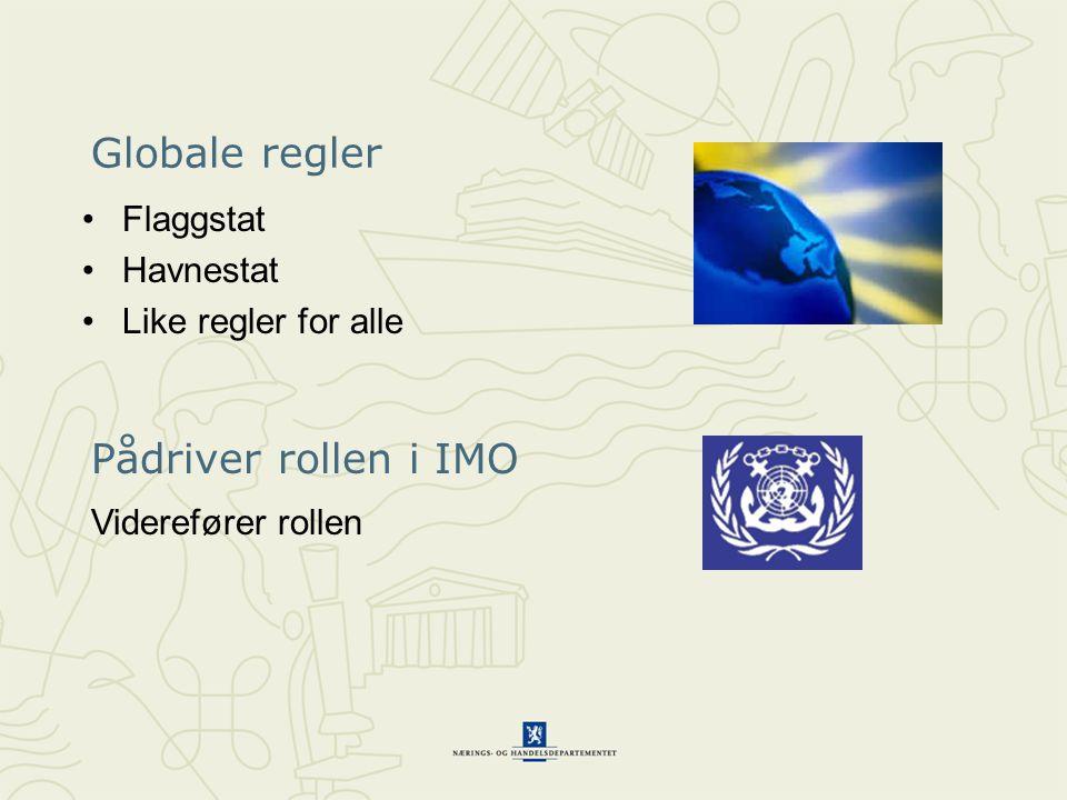 Globale regler Flaggstat Havnestat Like regler for alle Pådriver rollen i IMO Viderefører rollen