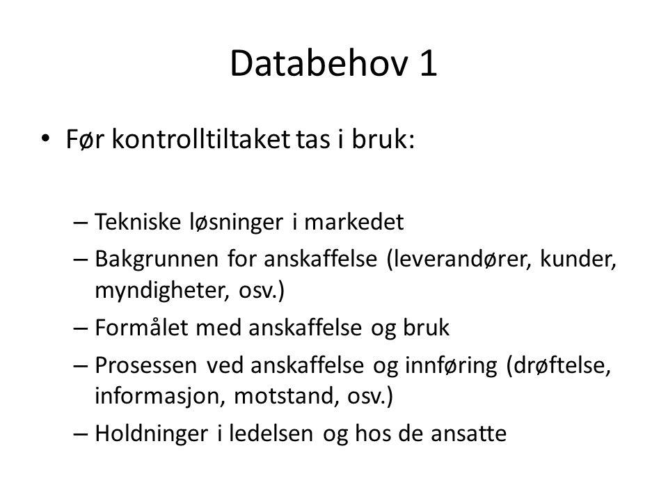 Databehov 1 Før kontrolltiltaket tas i bruk: – Tekniske løsninger i markedet – Bakgrunnen for anskaffelse (leverandører, kunder, myndigheter, osv.) –