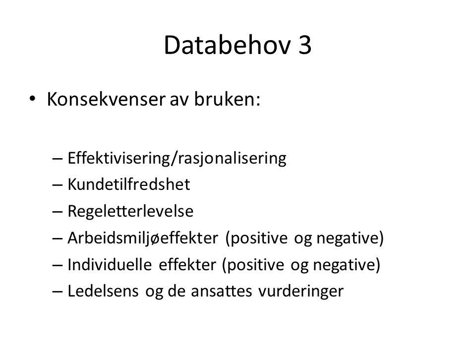 Databehov 3 Konsekvenser av bruken: – Effektivisering/rasjonalisering – Kundetilfredshet – Regeletterlevelse – Arbeidsmiljøeffekter (positive og negat
