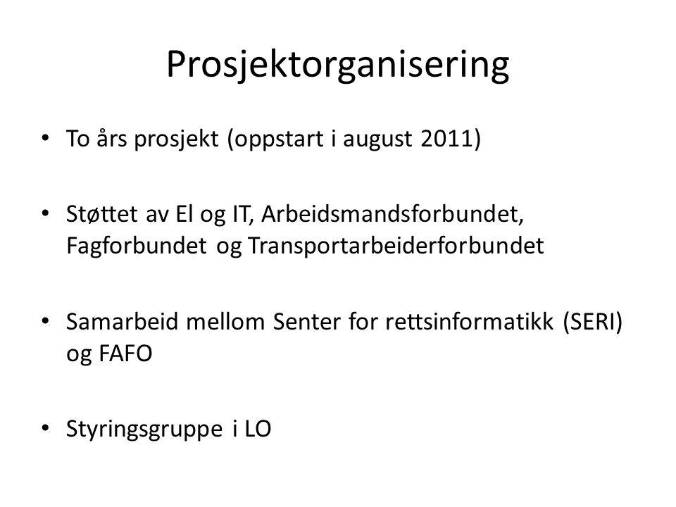 Prosjektorganisering To års prosjekt (oppstart i august 2011) Støttet av El og IT, Arbeidsmandsforbundet, Fagforbundet og Transportarbeiderforbundet S