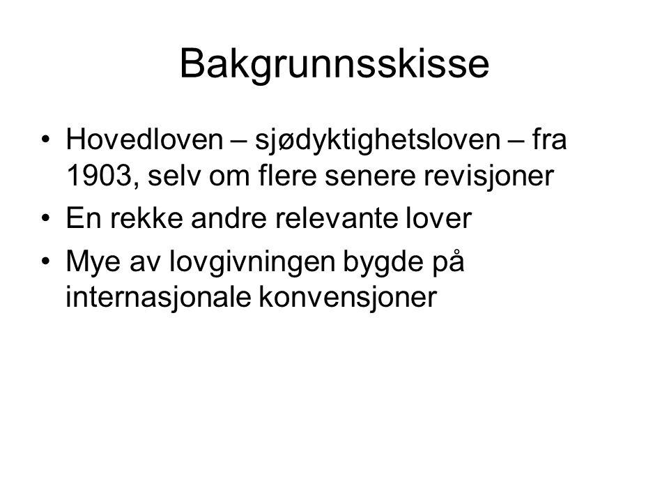 Skipssikkerhetsloven 2007 Lovarbeidet: NOU 2005:14, Ot.prp.