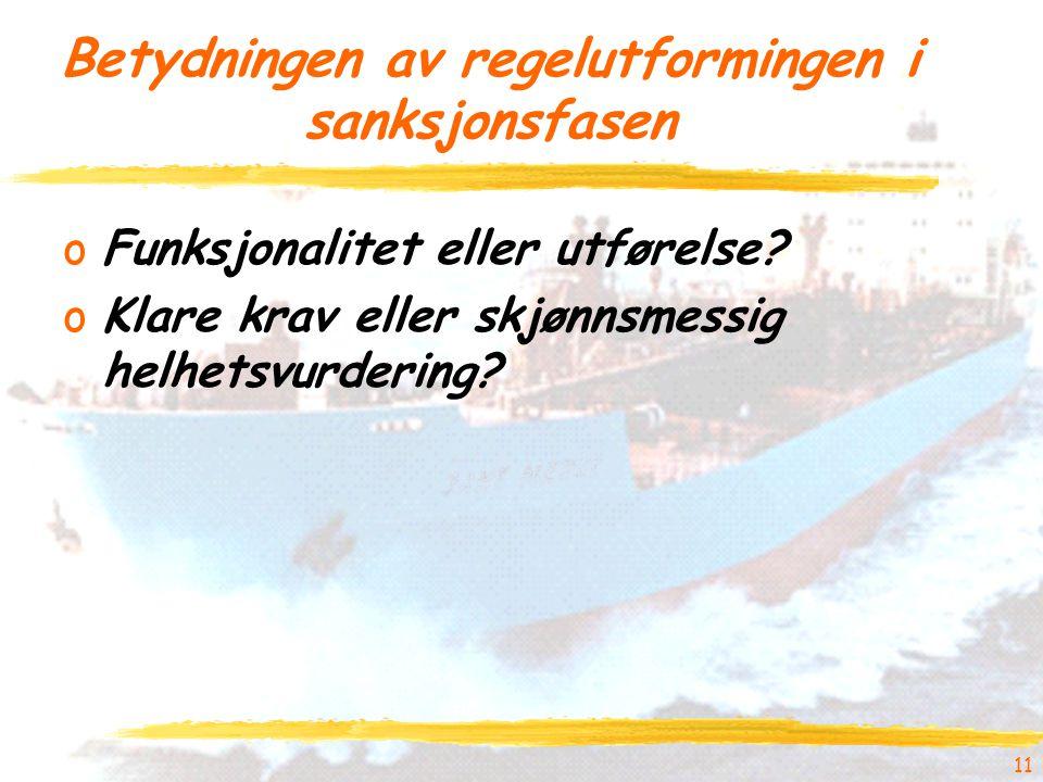 11 Betydningen av regelutformingen i sanksjonsfasen oFunksjonalitet eller utførelse.