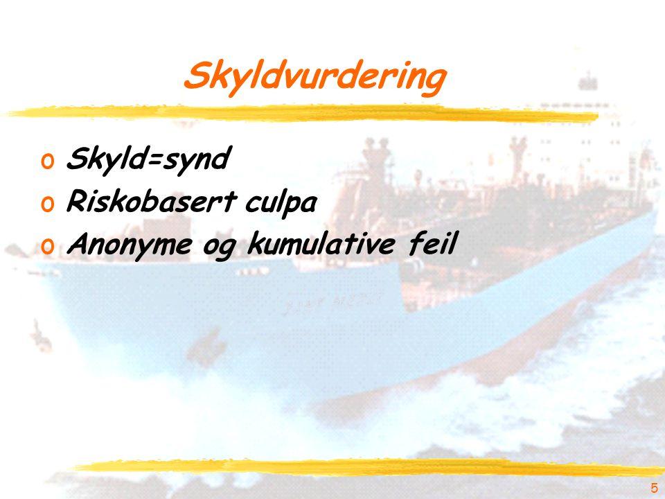 5 Skyldvurdering oSkyld=synd oRiskobasert culpa oAnonyme og kumulative feil