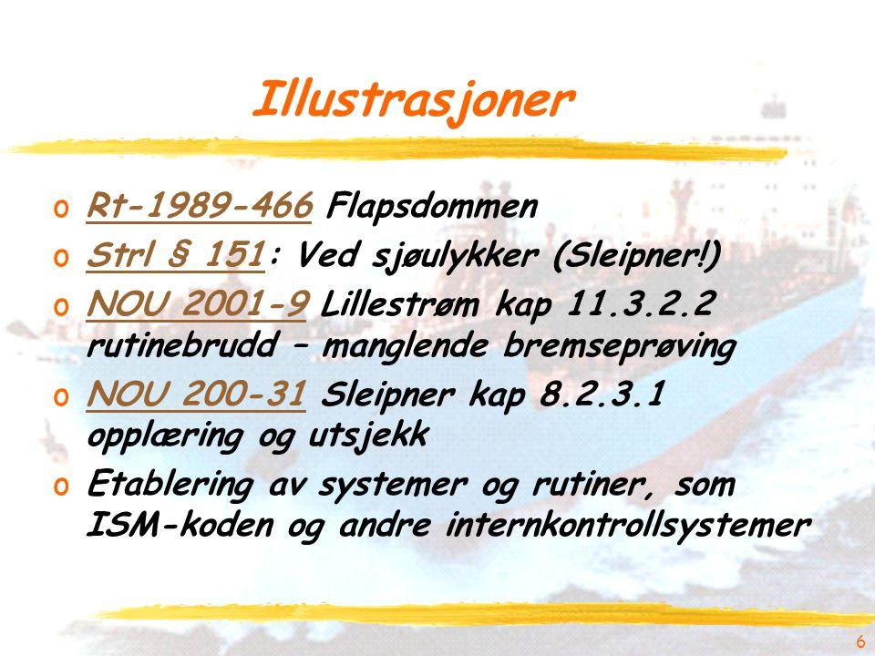 6 Illustrasjoner oRt-1989-466 FlapsdommenRt-1989-466 oStrl § 151: Ved sjøulykker (Sleipner!)Strl § 151 oNOU 2001-9 Lillestrøm kap 11.3.2.2 rutinebrudd – manglende bremseprøvingNOU 2001-9 oNOU 200-31 Sleipner kap 8.2.3.1 opplæring og utsjekkNOU 200-31 oEtablering av systemer og rutiner, som ISM-koden og andre internkontrollsystemer