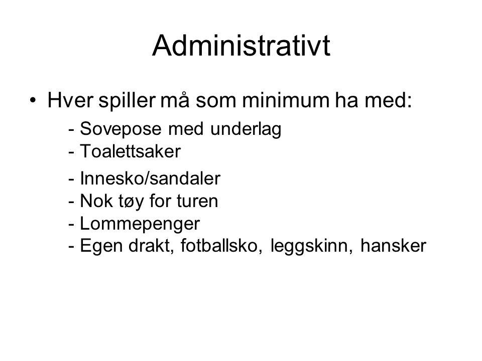 Administrativt Hver spiller må som minimum ha med: - Sovepose med underlag - Toalettsaker - Innesko/sandaler - Nok tøy for turen - Lommepenger - Egen