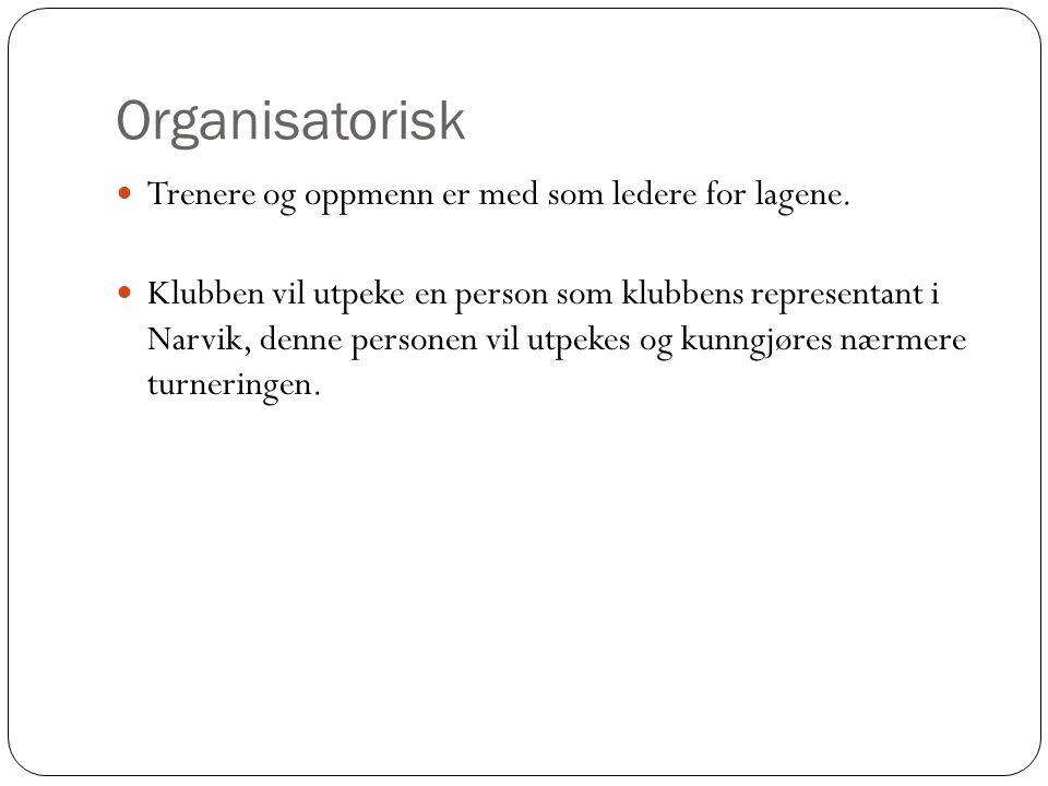 Organisatorisk Trenere og oppmenn er med som ledere for lagene.