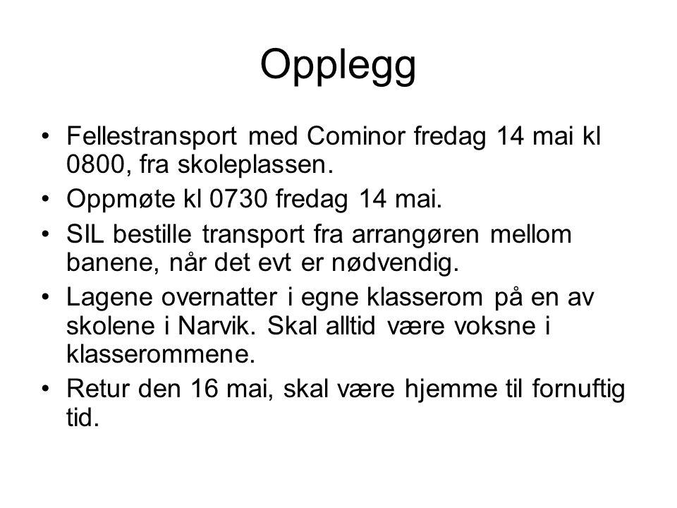 Opplegg Fellestransport med Cominor fredag 14 mai kl 0800, fra skoleplassen.