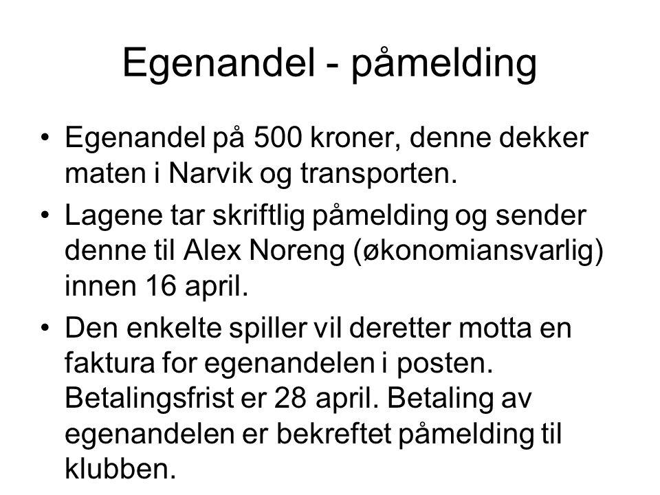 Egenandel - påmelding Egenandel på 500 kroner, denne dekker maten i Narvik og transporten.