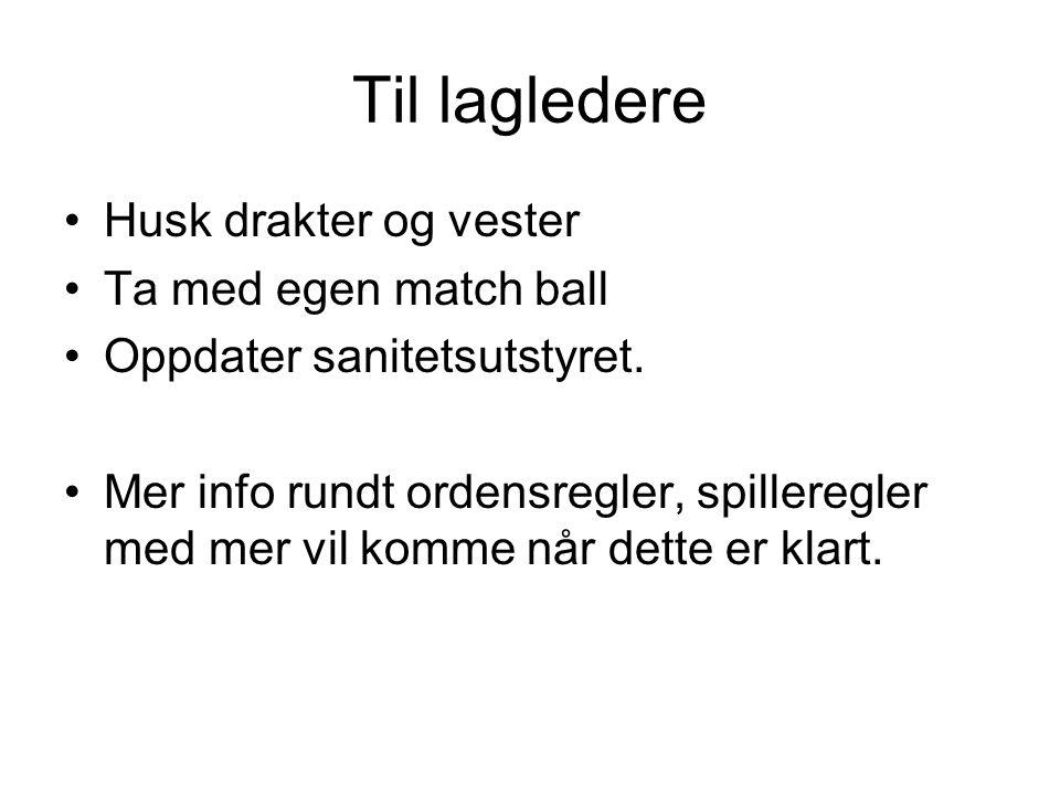 Til lagledere Husk drakter og vester Ta med egen match ball Oppdater sanitetsutstyret.