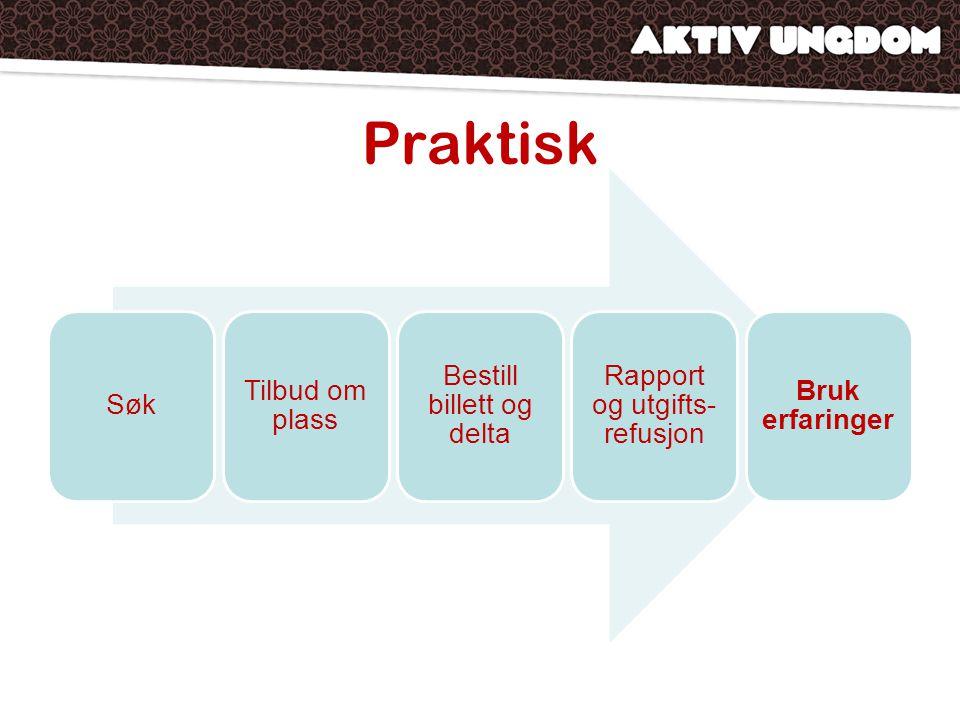 Praktisk Søk Tilbud om plass Bestill billett og delta Rapport og utgifts- refusjon Bruk erfaringer