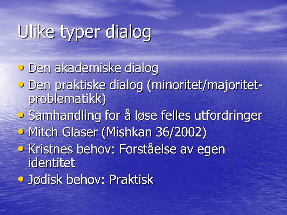 Ulike typer dialog Den akademiske dialog Den akademiske dialog Den praktiske dialog (minoritet/majoritet- problematikk) Den praktiske dialog (minorite