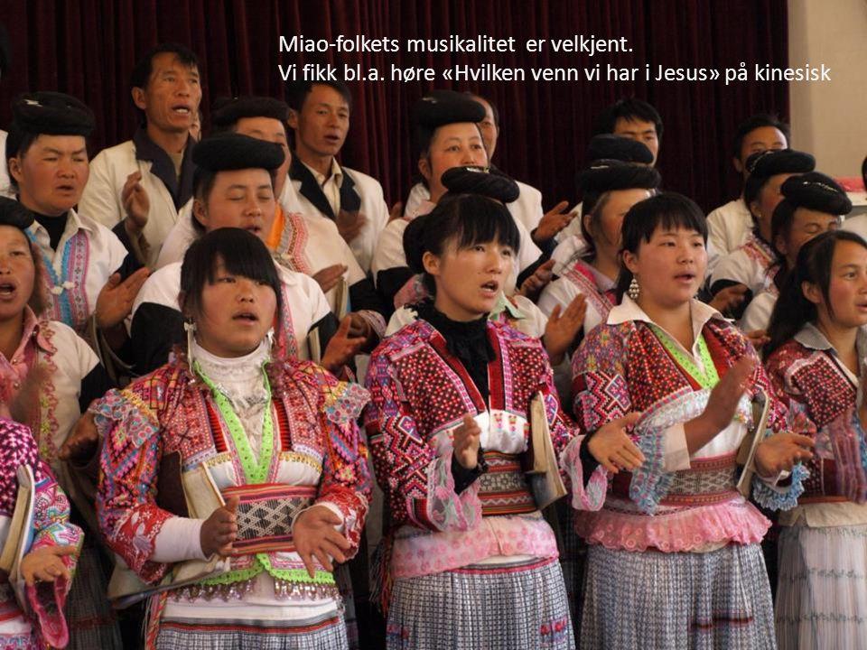 Miao-folkets musikalitet er velkjent. Vi fikk bl.a. høre «Hvilken venn vi har i Jesus» på kinesisk