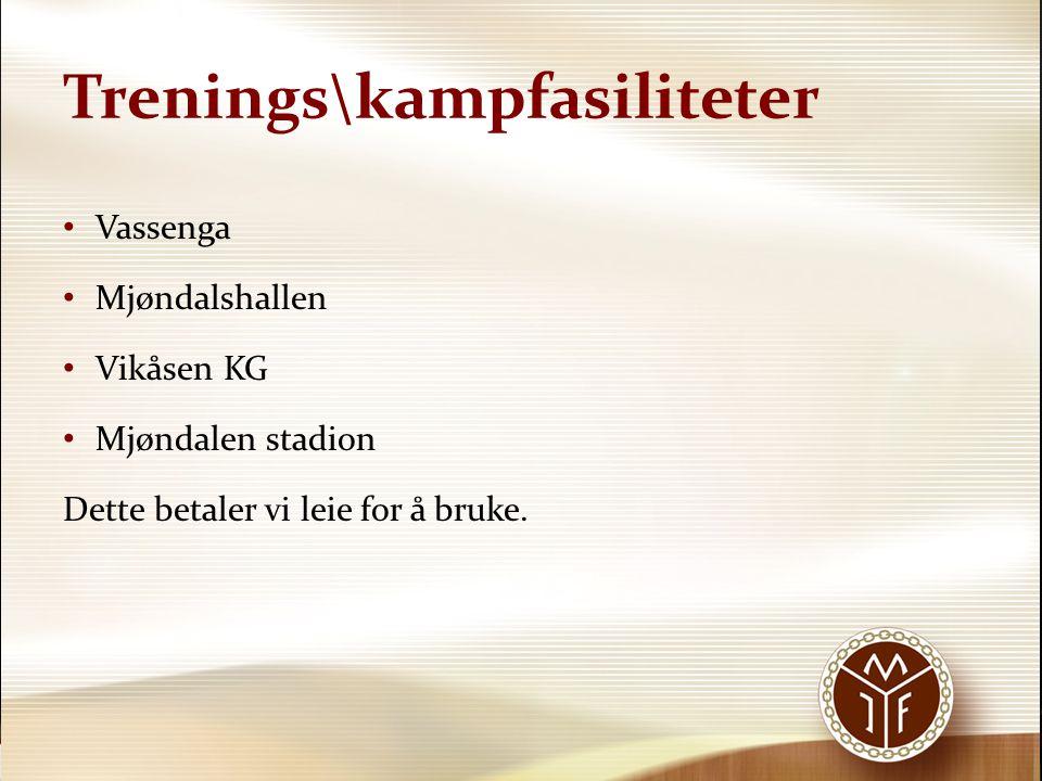 Trenings\kampfasiliteter Vassenga Mjøndalshallen Vikåsen KG Mjøndalen stadion Dette betaler vi leie for å bruke.