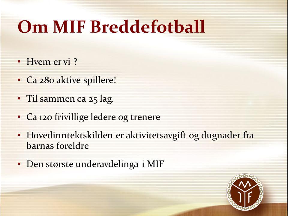 Om MIF Breddefotball Hvem er vi ? Ca 280 aktive spillere! Til sammen ca 25 lag. Ca 120 frivillige ledere og trenere Hovedinntektskilden er aktivitetsa