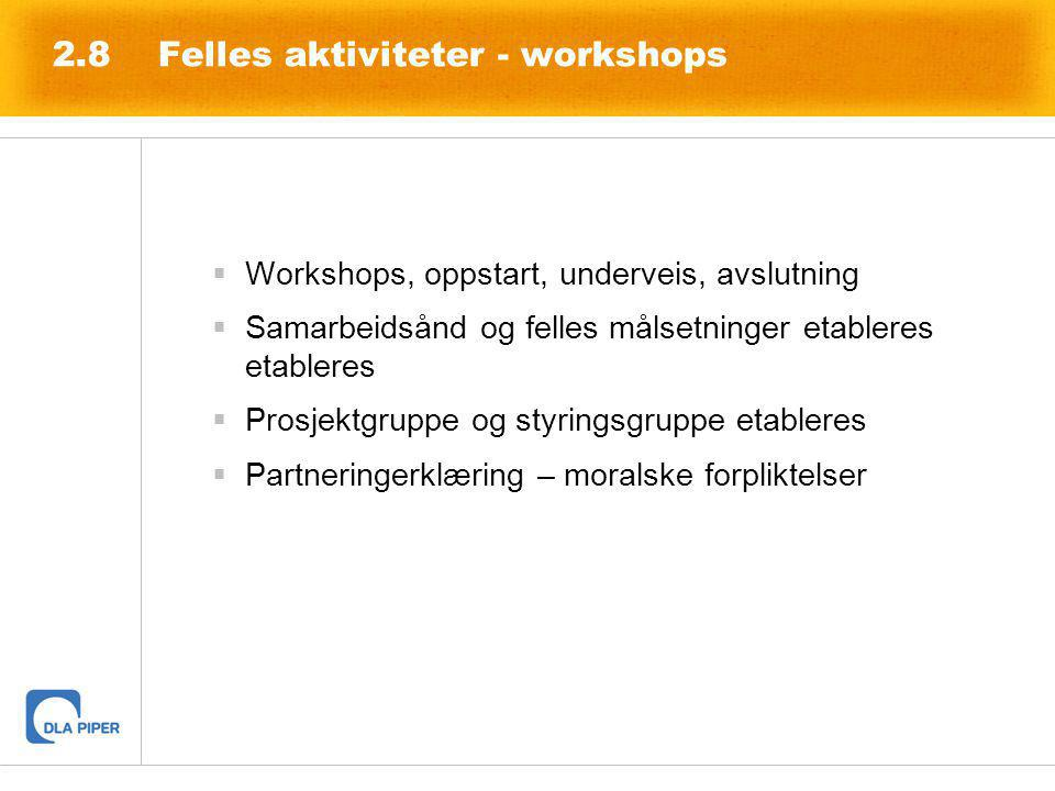2.8Felles aktiviteter - workshops  Workshops, oppstart, underveis, avslutning  Samarbeidsånd og felles målsetninger etableres etableres  Prosjektgr