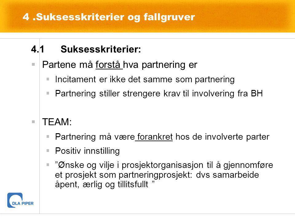 4.Suksesskriterier og fallgruver 4.1Suksesskriterier:  Partene må forstå hva partnering er  Incitament er ikke det samme som partnering  Partnering