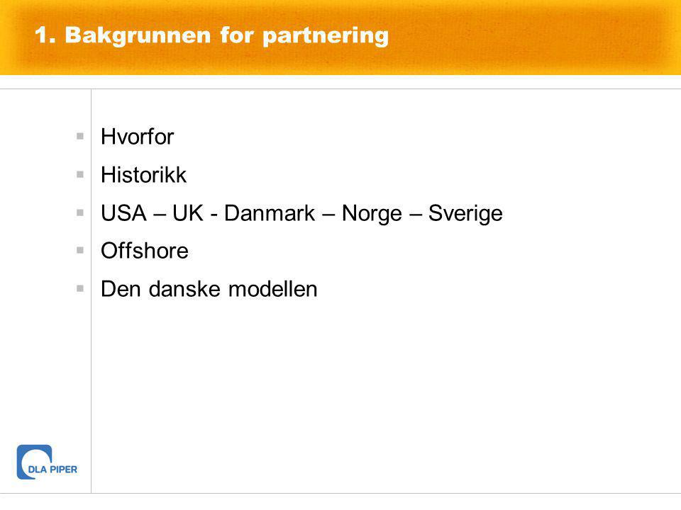 1. Bakgrunnen for partnering  Hvorfor  Historikk  USA – UK - Danmark – Norge – Sverige  Offshore  Den danske modellen